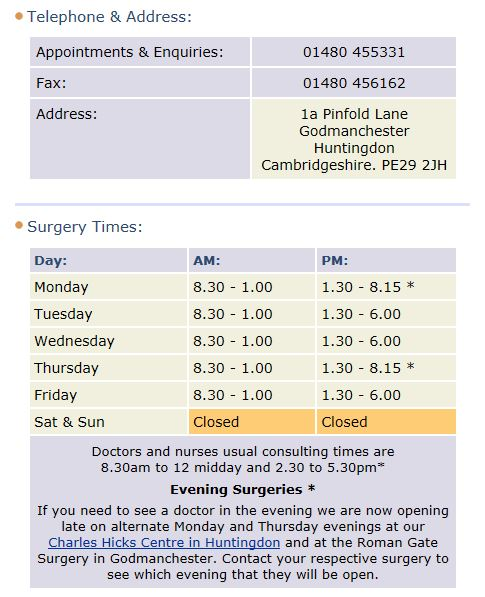 Roman Gate doctors surgery godmanchester opening times